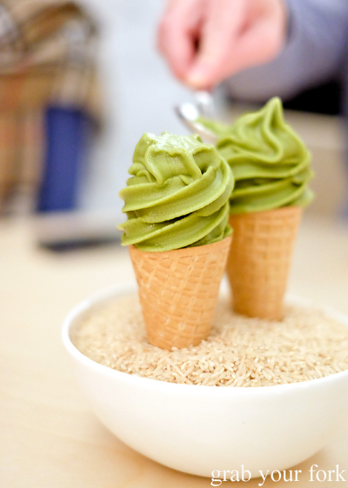 Green tea soft serve waffle cone at Potts Point, Sydney