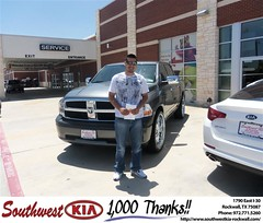 #HappyAnniversary to Margarito Silos on your 2009 #Dodge Truck #Ram 1500 from Blair Stouffer at Southwest KIA Rockwall!