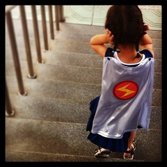 This little super hero thought the trains were much too noisy.