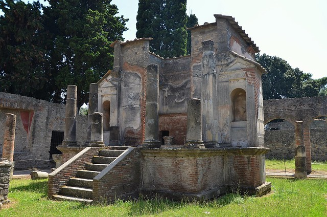 Temple of Isis consisting of an oblong cella, with a portico on the east side with six columns,  Pompeii
