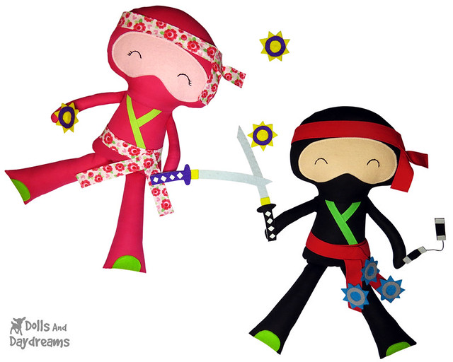 Ninja Samurai karate kids doll sewing pattern