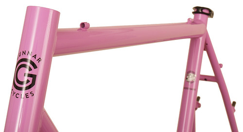 <p>Top tube detail Gunnar CrossHairs in Lilac with White Panel and Bullseye Decals.  One of the most versatile bikes around, the CrossHairs is at home as a road bike, commuter, century bike and light tourer as it is as a competition cyclocross design.</p>