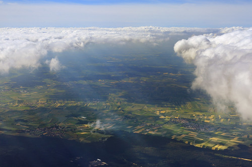 clouds germany bavaria shadows aerial fields roads towns aerialphotography crepuscularrays