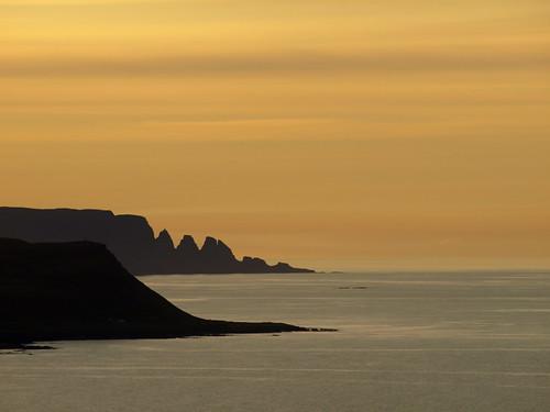 sunset sea sky orange colors landscape coast iceland colours silhouettes august atlantic drangaskörð reykjaneshyrna krossnes 2014 strandir húnaflói árneshreppur