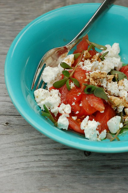 Tomato, purslane and chevre with maple balsamic vinegar by Eve Fox, The Garden of Eating, copyright 2014