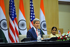 U.S. Secretary of State John Kerry addresses reporters during a news conference with Indian Minister of External Affairs Sushma Swaraj following the plenary session of a Strategic Dialogue between the two countries in New Delhi, India, on July 31, 2014. [State Department photo/ Public Domain]