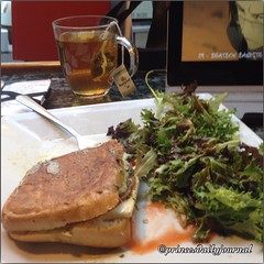 """It was so good that I forgot to take a picture. Lol Enjoying this sandwhich while watching #samuraichamploo!! #whatsprinceeating: """"Traditional Panini"""" Thank you @bostoncommoncoffee again for this great panini! www.princesdailyjournal.com #princesdailyjour"""