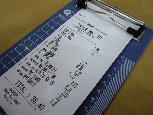 T-time Coffee Shop bill