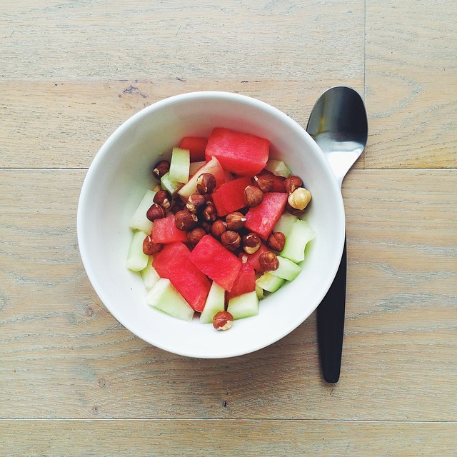 Breakfast fruit salads. Watermelon week: watermelon, melon, hazelnuts, oats soaked in apple juice over night. #instafood #instasalad #feelgood #healthy #healthyfood #saladpride #saladlove #saladjam #salad #vegetarian #vegan #desk #veg #veganfood #vegansha