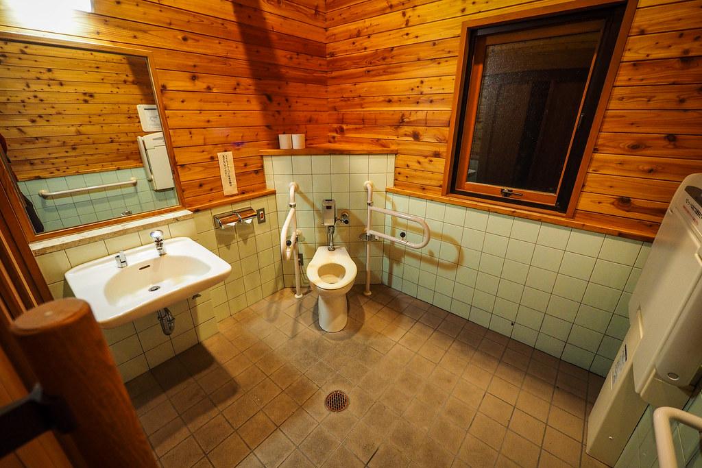 Nice spacious toilets at Motto Kazete Campground in Hamanaka, Hokkaido, Japan