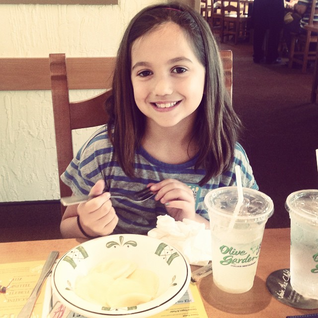And after good news from the ENT lunch of her choice - it's always Olive Garden!!!!