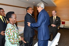U.S. Secretary of State John Kerry greets Tanzanian President Jakaya Kikwete at the 2014 Frontiers in Development Forum at the Ronald Reagan Building in Washington, D.C., on September 19, 2014. [State Department photo/ Public Domain]