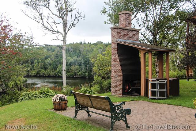 Liscombe Lodge outdoor fireplace for smoke salmon.