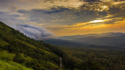 road sunset india mist fog clouds sunrise landscape karnataka chikmagalur