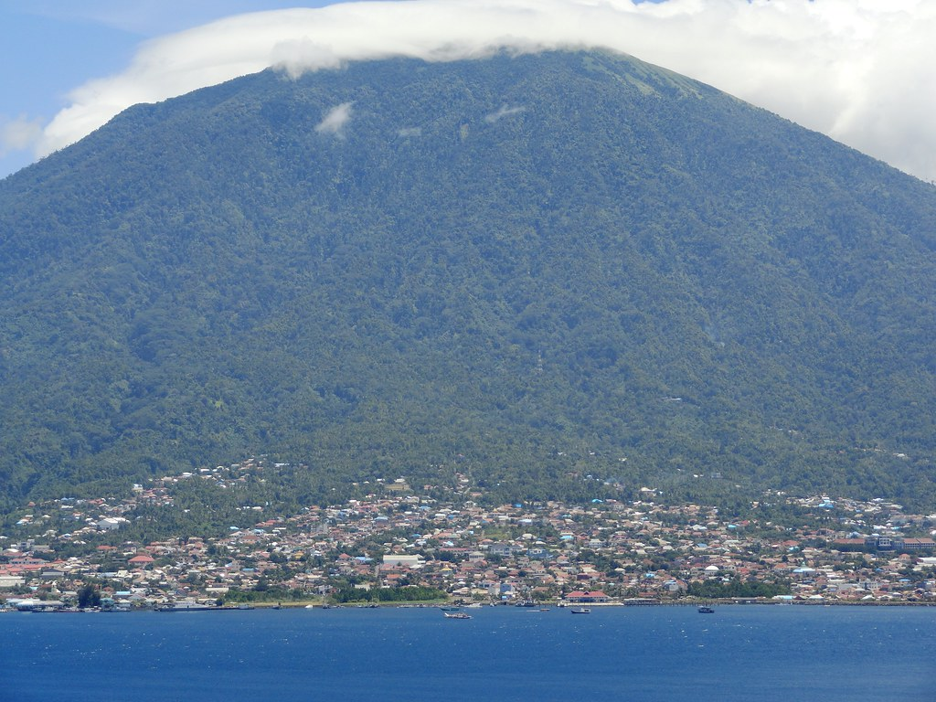 Pulau Ternate and Gamalama Volcano from the North-west Coast of Pulau Tidore (Tidore Island), The Moluccas (Maluku)