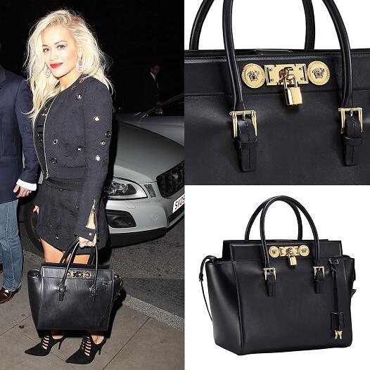 ... Rita Ora toting Versace Signature Lock bag  b90d552b774f7