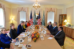 U.S. Secretary of State John Kerry meets with Saudi Foreign Minister Prince Saud Al-Faisal in New York City on September 22, 2014. The Secretary is holding meetings in conjunction with the 69th Session of the United Nations General Assembly. [State Department photo/ Public Domain]