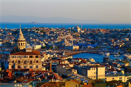 Sunset view of the Galata tower and bridge from the rooftop bar at Mikla at The Marmara Pera