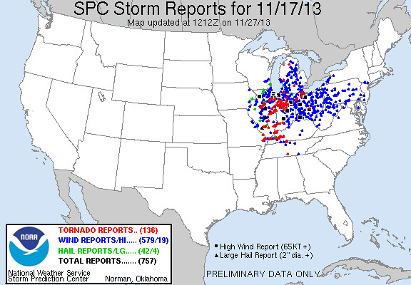 SPC storm reports 11/17/13
