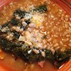 Cavolo Nero (#tuscankale or #dinosaurkale) , #beans & #farro a Special #tuscan Soup. Perfect in winter #tuscany #tuscanfood #tuscancookingclass today