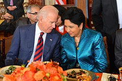 U.S. Vice President Joe Biden chats with Indra Nooyi, CEO of PepsiCo, at a luncheon that the Vice President co-hosted with U.S. Secretary of State John Kerry at the U.S. Department of State in Washington, D.C., on September 30, 2014. [State Department photo/ Public Domain]