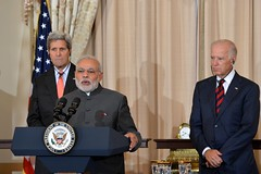Indian Prime Minister Narendra Modi delivers remarks at a luncheon co-hosted by U.S. Secretary of State John Kerry and U.S. Vice President Joe Biden in honor of the Prime Minister's visit at the U.S. Department of State in Washington, D.C., on September 30, 2014. [State Department photo/ Public Domain]