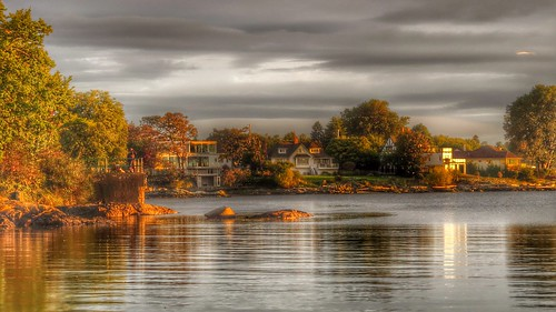 ocean autumn trees houses house beach water colors beautiful architecture clouds sunrise canon reflections colours cloudy edited earlymorning hdr victoriabccanada explored kissedbythesun vancouverislandbccanada sx50 deewoodhead