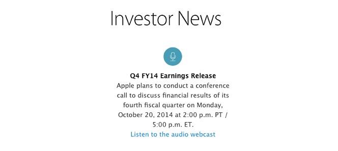 Telekonferencja Apple i wyniki finansowe już 20 października