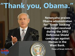 Israeli PM Benjamin Netanyahu thanks Obama for his support of Israel during the conflict