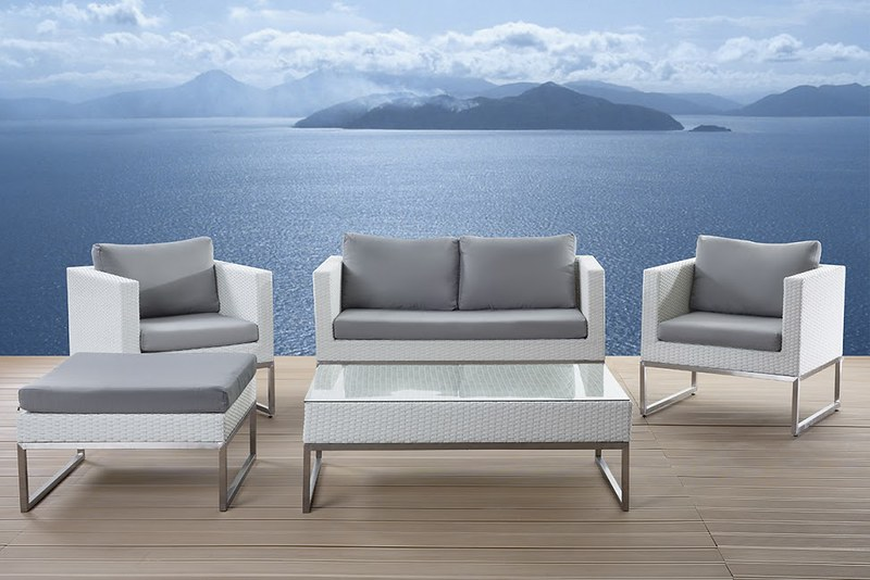 modern outdoor patio conversation set Crema by Velago