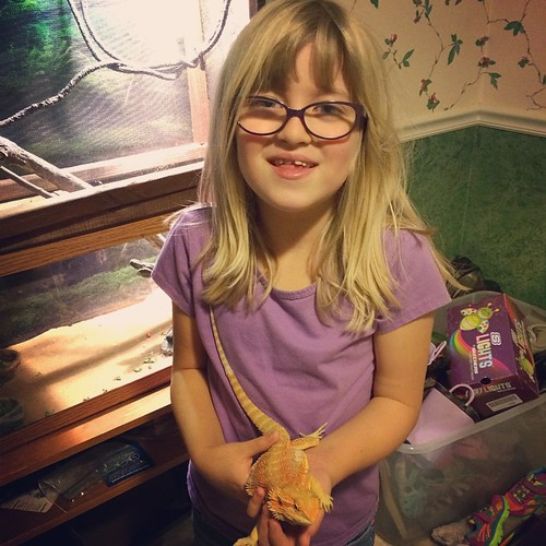 Catie & her bearded dragon, Spyro Jones. (He's getting so big!)