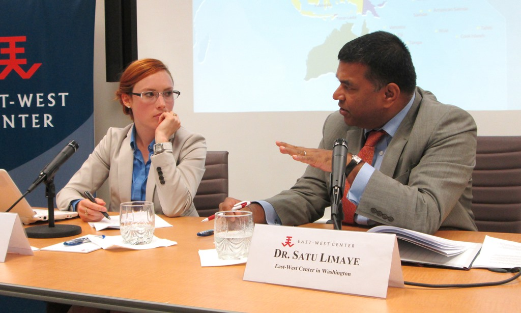 East-West Center in Washington director, Dr. Satu Limaye, raises a question to visiting scholar from the Australian Strategic Policy Institute, Hayley Channer, during her discussion of what the US wants of its allies.