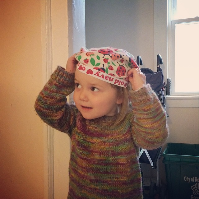 Just wearing her pajama bottoms on her head. As you do.