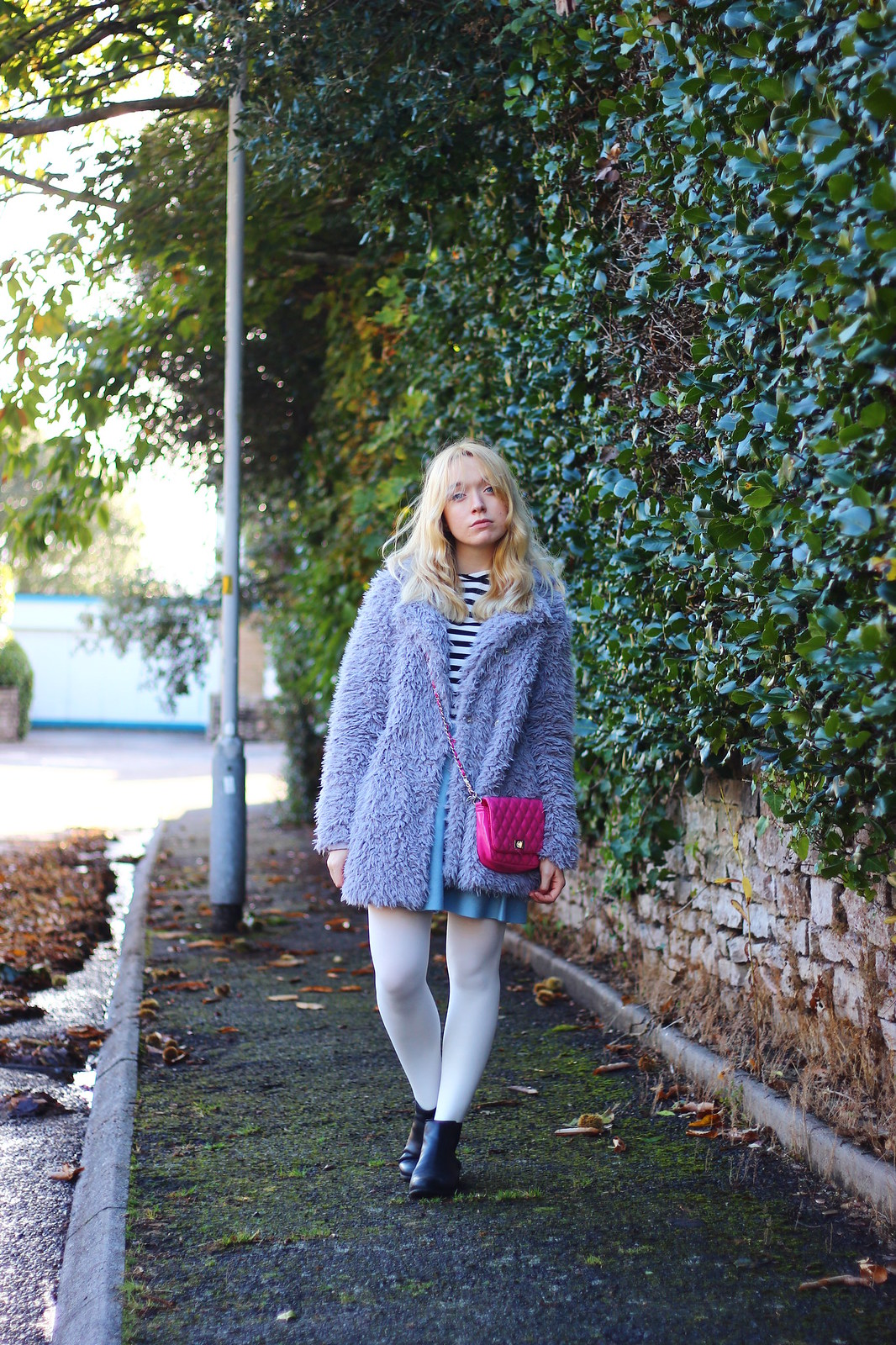 6lilaccoat, pastel outfit, fluffy coat