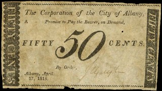 New York. City of Albany. 50 Cents. April 17, 1815