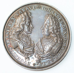 1709 medal Prince Eugene of Savoy and the Duke of Marlborough obverse