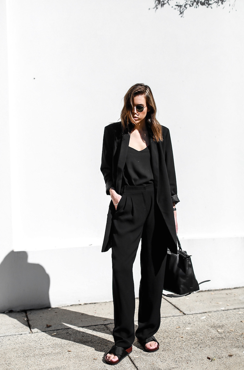 modern legacy fashion blog suit street style Celine slide sandals Max Mara wide leg pants boyfriend blazer Alexander Wang bag all black work wear (1 of 13)