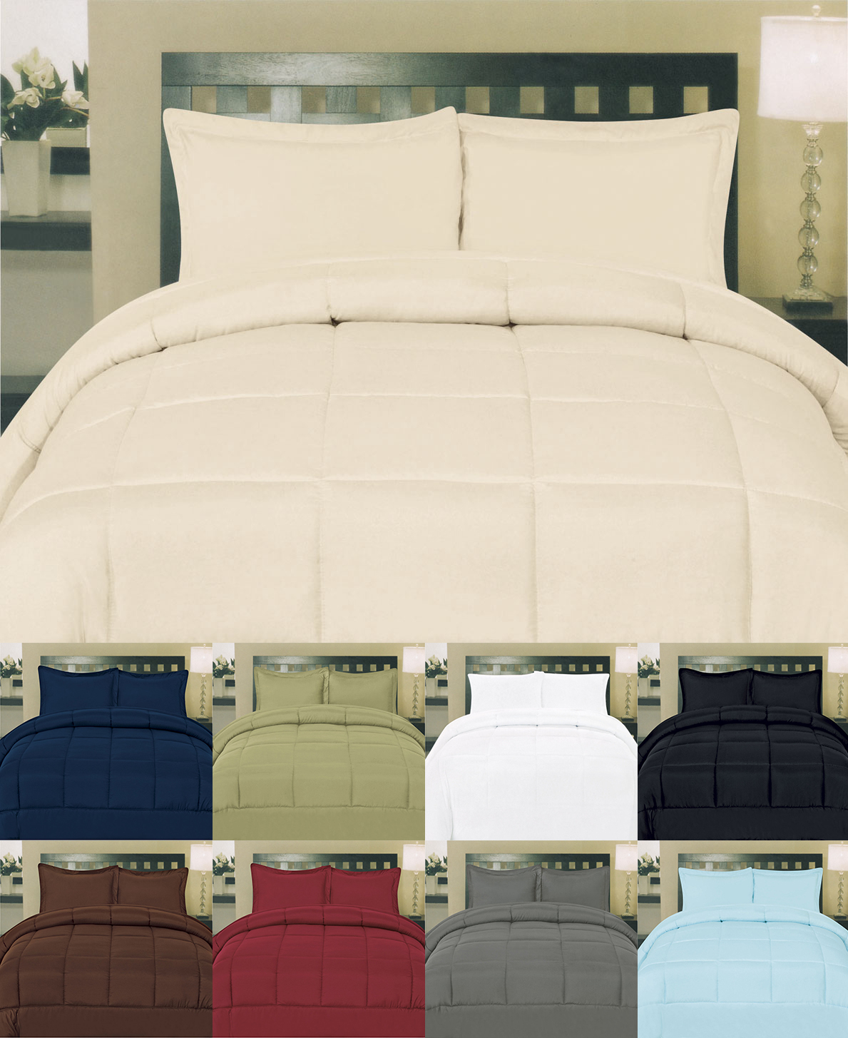 Solid Color Box Stitch 100 Polyester Down Alternative Comforter 9 Colors Ebay