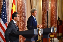 U.S. Secretary of State John Kerry and Chinese Foreign Minister Wang Yi address reporters before their bilateral meeting at the U.S. Department of State in Washington, D.C., on October 1, 2014. [State Department photo/ Public Domain]