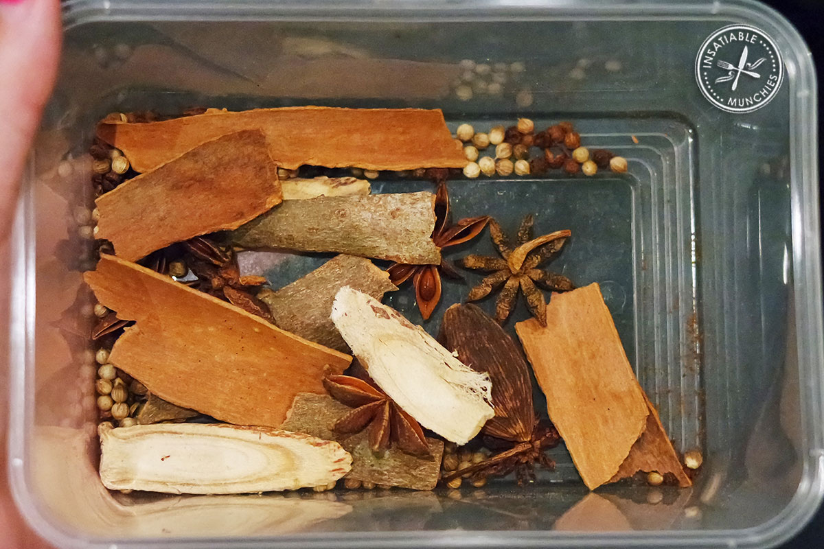 Box of mixed dried Chinese spices