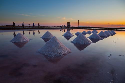 travel sunset sea summer italy water landscape tramonto mare sale salt ufo flats sicily saline sicilia