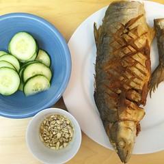 Pan-fried mackerel