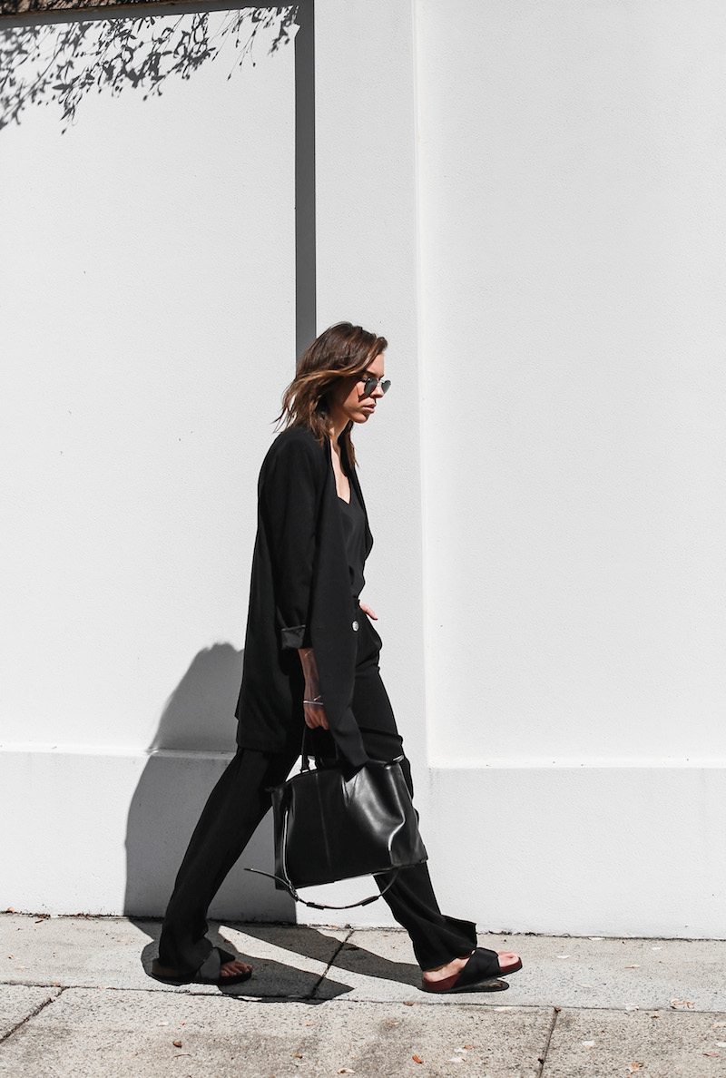 modern legacy fashion blog suit street style Celine slide sandals Max Mara wide leg pants boyfriend blazer Alexander Wang bag all black work wear (8 of 13)