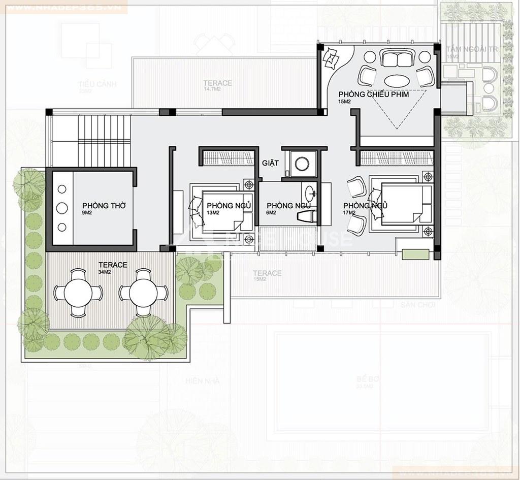 Mặt bằng tầng 3 biệt thự hiện đại