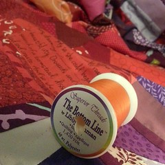 I\'ve been using Superior threads The Bottom Line for my bobbin when piecing this made fabric. 60 wt. So happy with how long it lasts. #soakphotochallenge