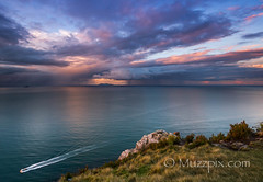 muzzpix-nz posted a photo:	Facebook    | 500px  | WebsiteThe homeward run for a pleasure craft after a days fun on the Pacific Ocean of the Tauranga coast . Image made from atop Mount Maunganui looking out toward Mayor island about 20 miles off-shore with some squalls about .