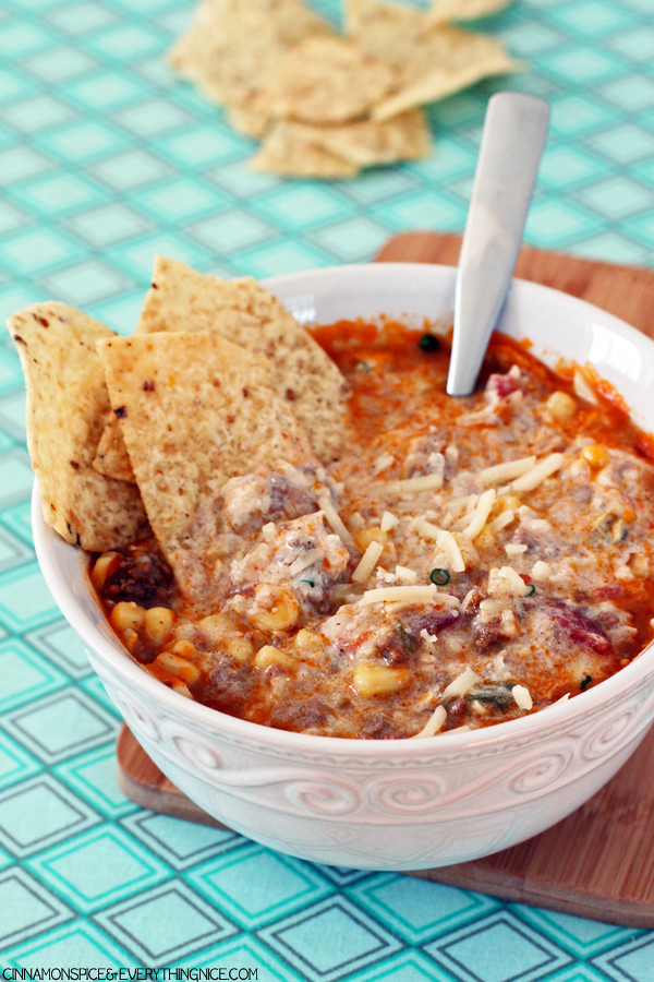 Enchilada Soup -  A hearty and flavorful Tex-Mex soup! cinnamonspiceandeverythingnice.com