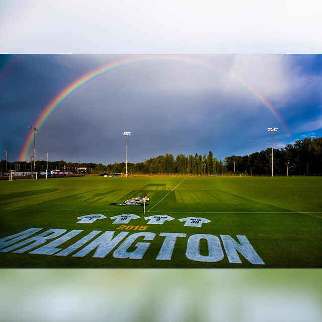 Senior Night postponed but wow what a beautiful double #rainbow we experienced over the fields!