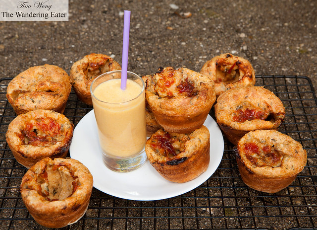 Homemade Fourme d'Ambert, thyme, cayenne, tomato jam popovers
