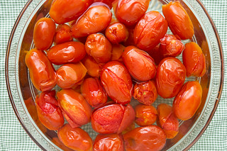 plum tomatoes in ice water